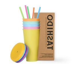 Color Changing Plastic Cup 24oz. Cup with Lids and Straws 5