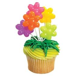 FLOWER BALLOON Cupcake Toppers Picks Birthday Party Supplies