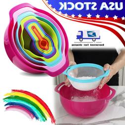 Set of 10 Measuring Cups Spoons Colorful Mixing Bowls Plasti
