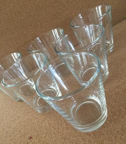 Set of  6 Small 6 oz Clear Drinking Glasses Juice Water Tumb