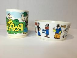 Vintage Popeye 1979 cup w/ 1971 bowl King Feature Syndicate